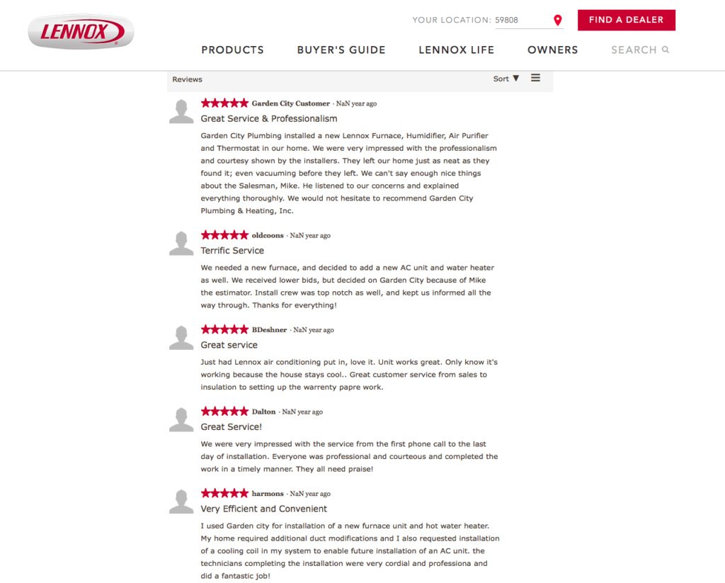Missoula Lennox Dealers Reviews