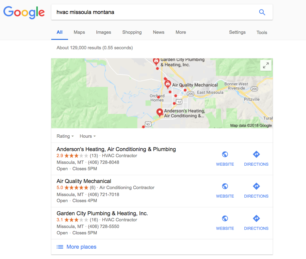 Google Local Search Results for HVAC Missoula Montana
