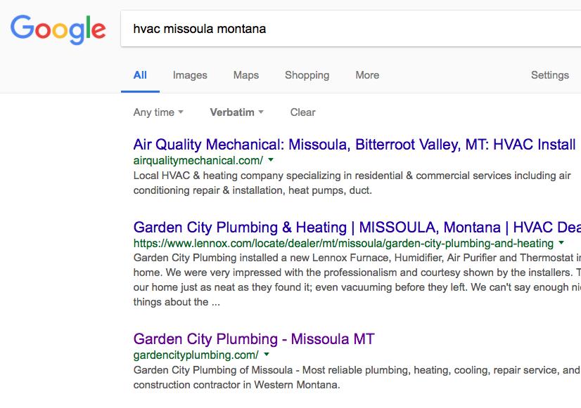 Google SERP for HVAC Missoula Montana
