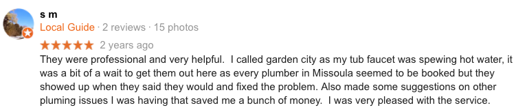 17 Missoula Montana Plumbing Google Review